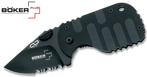 "Boker Plus BO586 Subcom F – 1.875"" Black Finish Combo Edge Blade – Fiberglass Reinforced Nylon Handle - CUTLERY SHOPPE"