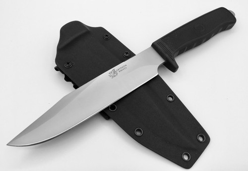 """GRYPHON KNIVES M-35 COMBAT SURVIVAL BOWIE KNIFE. 7.5"""" AUS-8A BLADE. BLACK CHECKERED KRATON HANDLE W/FULL TANG. BLACK KYDEX SURVIVAL SHEATH SYSTEM W/TACTICAL TAILOR MALICE CLIPS. CUTLERY SHOPPE"""