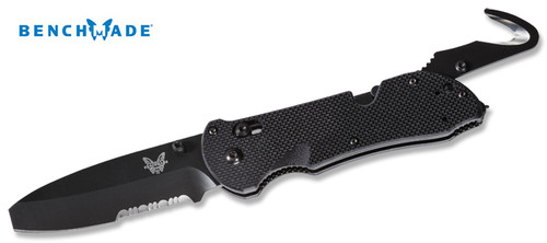"BENCHMADE 916SBK TRIAGE RESCUE FOLDER. 3.5"" N680 MAIN BLADE. TRIPLE UTILITY TOOL: KNIFE, SAFETY HOOK & GLASS BREAKER. BLACK G-10 SCALES. CUTLERY SHOPPE"