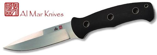 "AL MAR KNIVES SRO SRO-V S.E.R.E. OPERATOR FIXED BLADE KNIFE. 5.0"" VG-10 SATIN FINISH BLADE. BLACK MICARTA HANDLE. CUTLERY SHOPPE"