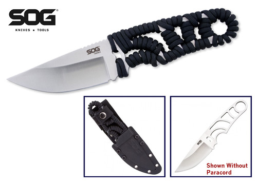 "SOG KNIVES FX31K TANGLE. 3.9"" SATIN FINISH BLADE. PARACORD WRAPPED HANDLE. CUTLERY SHOPPE"