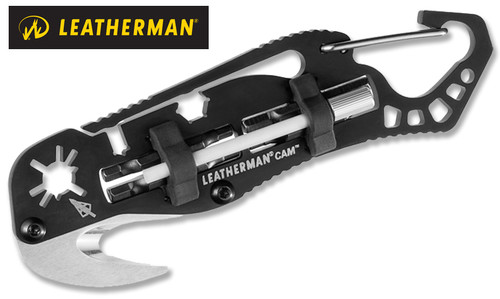"Leatherman 831798 Cam - 4.8"" Stainless Steel Tool - 5 Tools for Bow Maintenance - Black Nylon Molle Sheath"