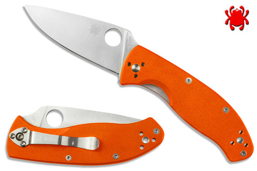 "SPYDERCO C122GPOR TENACIOUS FOLDER. 3.39"" SATIN FINISH 8Cr13MoV BLADE. ORANGE G-10 HANDLE. CUTLERY SHOPPE EXCLUSIVE"