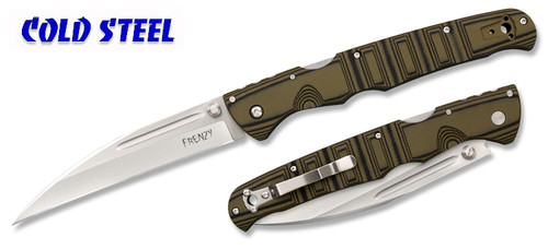 "COLD STEEL 62P1A FRENZY I FOLDING KNIFE. 5.5"" S35VN BLADE. OD GREEN & BLACK G-10 HANDLE. CUTLERY SHOPPE"