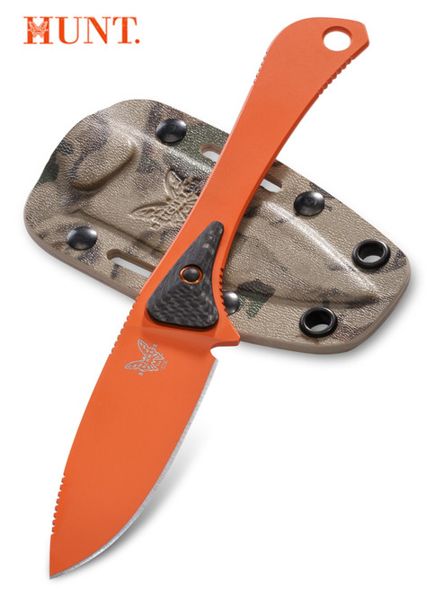 "Benchmade HUNT 15200ORG Orange Altitude Fixed Blade - 3.08"" CPM-S90V Drop Point Blade - Carbon Fiber/G-10 Micro Scales - Camo Kydex Sheath - CUTLERY SHOPPE"