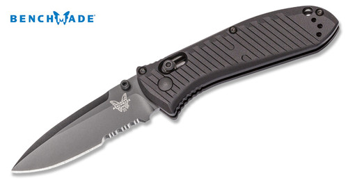 "Benchmade 575SBK Mini Presidio II - 3.2"" Combo Edge Black Finish CPM-S30V Blade - Black Anodized 6061-T6 Aluminum Handle - CUTLERY SHOPPE"