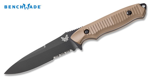 "Benchmade 140SBKSN Nimravus - 4.5"" BK Coated Combo Edge 154CM Full Tang Blade - Coyote Brown Anodized T-6 Aluminum Scales - CUTLERY SHOPPE"
