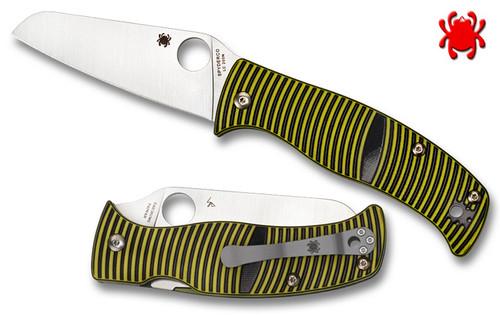 "Spyderco C217GPSF Caribbean Salt - 3.7"" Plain Edge Sheepsfoot Shaped Rustproof LC200N Blade - Layered Black/Green G-10 Handle - CUTLERY SHOPPE"