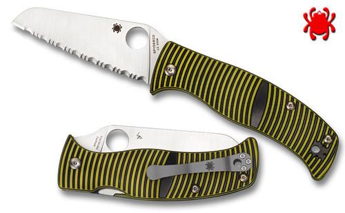 "Spyderco C217GSSF Caribbean Salt - 3.7"" Serrated Edge Sheepsfoot Shaped Rustproof LC200N Blade - Layered Black/Green G-10 Handle - CUTLERY SHOPPE"