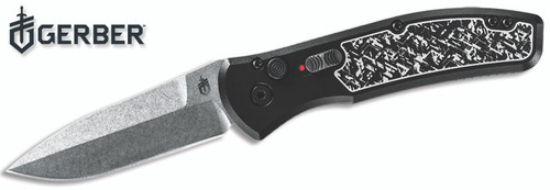 "Gerber 30-001323 Empower AUTOMATIC - 3.25"" Plain Edge CPM-S30V Stonewash Finish Blade Blade - Type III Hard Anodized Black Aluminum Handle w/Armored Grip Plates - CUTLERY SHOPPE"