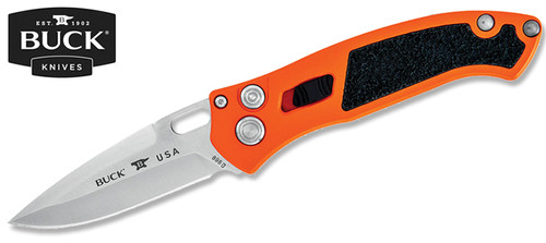 "BUCK KNIVES 0898ORS IMPACT AUTOMATIC KNIFE. 3.125"" PLAIN EDGE PREMIUM S30V BLADE. TYPE III HARD ANODIZED ORANGE 6061-T6 ALUMINUM HANDLE. CUTLERY SHOPPE"