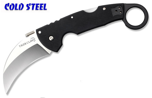 "COLD STEEL 22KF TIGER CLAW KARAMBIT FOLDER. 3.0"" CTS-XHP PLAIN EDGE BLADE. BLACK G-10 HANDLE. CUTLERY SHOPPE"