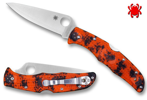 "SPYDERCO C10ZFPOR ENDURA 4. 3.8"" PLAIN EDGE HAP40/SUS410 BLADE. ORANGE/BLACK ZOME FRN HANDLE. CUTLERY SHOPPE EXCLUSIVE"