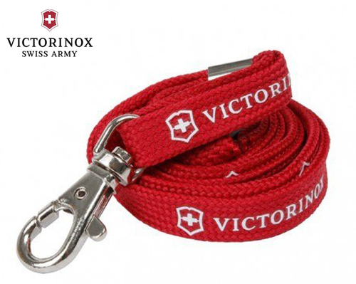 """VICTORINOX 4.1879 NECK STRAP W/SNAP-HOOK. 19.5"""" RED NYLON W/BREAKAWAY SAFETY CLOSURE. SHOWN COILED. CUTLERY SHOPPE"""