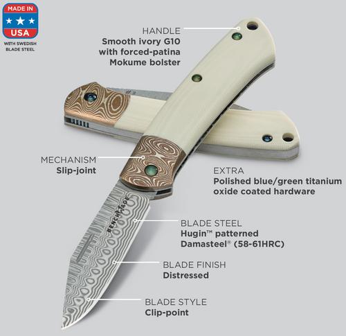 "Benchmade 318-181 Proper Slipjoint - 2.82"" Hugin Pattern Damasteel Blade - Ivory G-10 Handle w/Mokume Bolster - GOLD CLASS. CUTLERY SHOPPE"