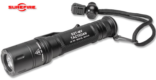 SUREFIRE E2T-MV TACTICIAN W/MAXVISION BEAM LED FLASHLIGHT. 2 123A LITHIUM BATTERIES. HARD ANODIZED ALUMINUM BODY. DUAL OUTPUT 5/800 LUMENS. CUTLERY SHOPPE