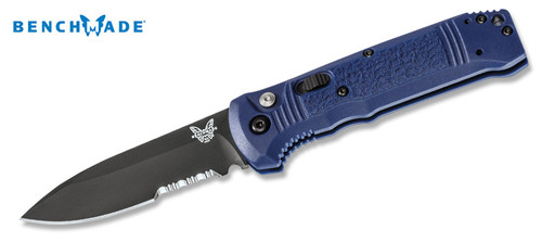 """BENCHMADE 4400SBK-1 CASBAH AUTOMATIC. 3.4"""" BLACK COMBO EDGE CPM-S30V BLADE. TEXTURED BLUE GRIVORY HANDLE. CUTLERY SHOPPE"""