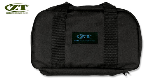 ZERO TOLERANCE ZT997  KNIFE STORAGE BAG. 18 PADDED POCKETS - HOLDS 18 KNIVES. SHOWN CLOSED. CUTLERY SHOPPE