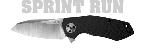 ZERO TOLERANCE 0456CF SPRINT RUN FLIPPER. SINKEVICH DESIGN. CPM-20CV BLADE. CARBON FIBER FRONT W/TITANIUM FRAME LOCK HANDLE. CUTLERY SHOPPE