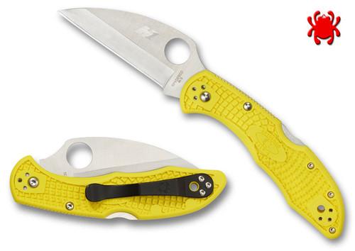 "SPYDERCO KNIVES C88PWCYL2 SALT 2 FOLDER. 2.95"" PLAIN EDGE H-1 BLADE STEEL. WHARNCLIFFE BLADE SHAPE. HI-VIS YELLOW FRN HANDLE. CUTLERY SHOPPE"