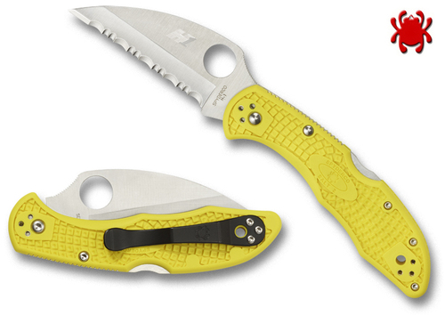 "SPYDERCO KNIVES C88SWCYL2 SALT 2 FOLDER. 2.95"" SERRATED EDGE H-1 WHARNCLIFFE BLADE. HI-VIS YELLOW FRN HANDLE. CUTLERY SHOPPE"