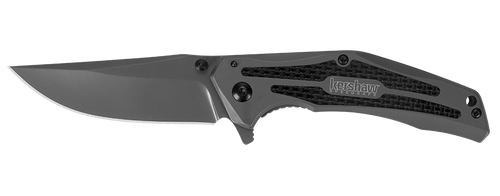 "Kershaw 8300 DuoJet SpeedSafe® Assisted Flipper - 3.25"" Ti Carbo-Nitride Coated 8Cr13MoV Blade - SS Frame Lock Handle w/Carbon Fiber Inserts"