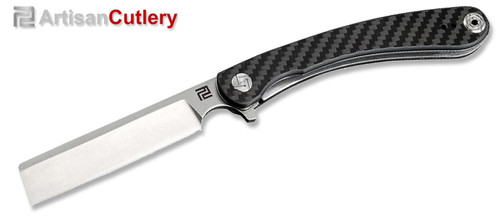 "Artisan Cutlery 1817P-CF Orthodox Razor Flipper - 3.75"" Stonewashed D2 Blade - Carbon Fiber Handle"