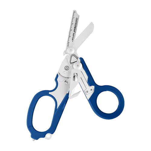 """LEATHERMAN TOOL 832344 RAPTOR MEDICAL SHEARS. 5.0"""" CLOSED. 6 TOOLS. BLUE HANDLE. INCLUDES BLACK NYLON UTILITY HOLSTER. CUTLERY SHOPPE"""
