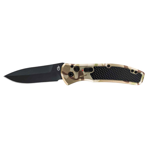 "Gerber 30-001621 Empower AUTOMATIC - 3.25"" Plain Edge CPM-S30V Black Finish Blade Blade - Type III Hard Anodized MultiCam Arid™ Aluminum Handle w/Armored Grip Plates"