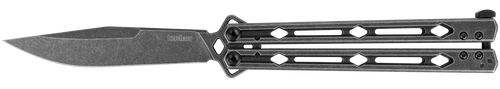 "KERSHAW 5150BW LUCHA BLACKWASH FINISH BUTTERFLY KNIFE. 4.6"" 14C28N SANDVIK BLADE. BLACKWASH FINISH STAINLESS STEEL HANDLE. CUTLERY SHOPPE"