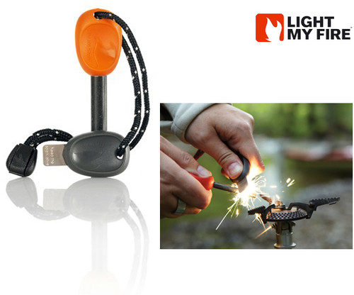 Light My Fire Swedish FireSteel 2.0 ARMY - 12,000 Strikes at 5400 degrees Fahrenheit  - Built-In Emergency Whistle - Orange