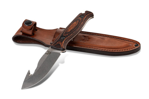 """BENCHMADE 15004 SADDLE MOUNTAIN SKINNER. 4.2"""" CPM-S30V DROP POINT BLADE W/HOOK. STABILIZED WOOD SCALES. BROWN LEATHER SHEATH. CUTLERY SHOPPE"""
