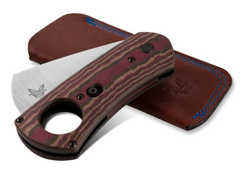 BENCHMADE 1500 CIGAR CUTTER. CPM-S30V CHISEL GROUND/GUILLOTINE BLADE. MULTI-LAYER RICHLITE HANDLE. LEATHER CARRY POUCH. CUTLERY SHOPPE