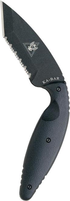 """KA-BAR 1485 LARGE TDI LAW ENFORCEMENT KNIFE 02-1485. 3.5"""" SERRATED EDGE AUS-8A TANTO BLADE. MOLDED BELT SHEATH W/CLIP. CUTLERY SHOPPE"""