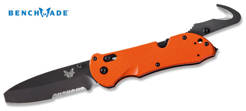 Benchmade 916SBK-ORG Triage - Triple Utility Tool: Knife, Safety Hook & Glass Breaker - Orange G-10 Scales - BK1 Coated Combo Edge Blade - CUTLERY SHOPPE