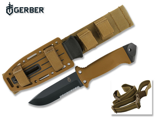 """GERBER 22-01463 LMF II INFANTRY KNIFE. 4.84"""" COMBO EDGE BLADE. COYOTE BROWN HANDLE AND SHEATH. CUTLERY SHOPPE"""