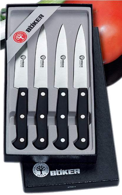 "BOKER ARBOLITO 03BA5704SET 4 PIECE STEAK KNIFE SET. 4.25"" PLAIN EDGE BLADES. RIVETED DELRIN HANDLE. CUTLERY SHOPPE"