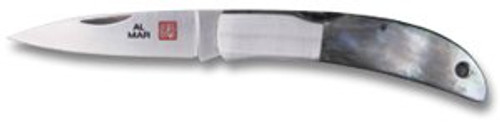 "AL MAR KNIVES 1002BP HAWK CLASSIC FOLDER. 2.5"" PLAIN EDGE BLADE. STAINLESS BOLSTERS W/BLACK PEARL SCALES. CUTLERY SHOPPE"