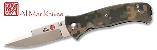 "AL MAR KNIVES S2KDC SERE 2000. 3.6"" VG-10 BLADE. DIGITAL CAMO G-10 BLADE. CUTLERY SHOPPE"