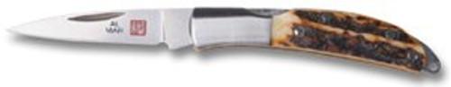 "AL MAR KNIVES 1001S OSPREY. PREMIUM STAG ANTLER SCALES. 1.65"" BLADE. CUTLERY SHOPPE"