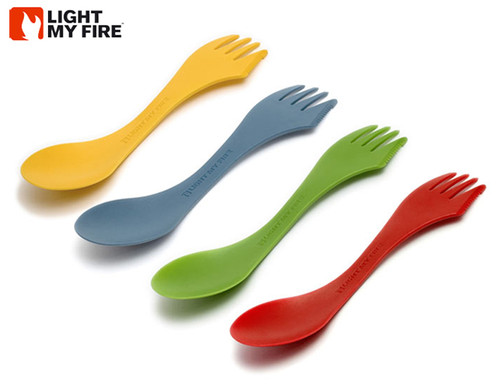 "Light My Fire Spork 4 Pack - 6.75"" Spork in Red, Yellow, Green and Blue"