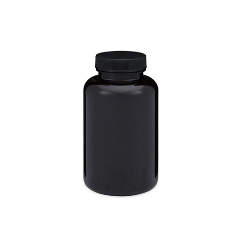 Dark Amber PET Plastic Wide Mouth Packer Bottles (Black Screw Top Cap)