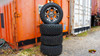 "4 x RHOX Black Machined SS 12"" Golf Cart Wheels w/ Duro 22"" Tires"