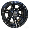 "4 x RHOX Gloss Black SS 12"" Golf Cart Wheels w/ RXLP Low Profile Tires"