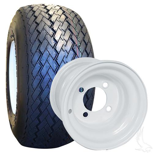 4 x Steel White 8x7 Standard with RHOX Golf DOT 18x8.5-8 Tires