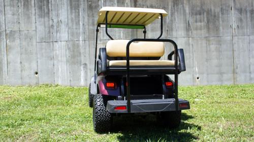 Custom Burgundy Terrian EZGO 48 Volt Electric TXT 4 Passenger Golf Cart
