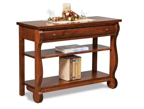 Old Classic Sleigh Open Sofa Table with Drawer and Adjustable Shelf