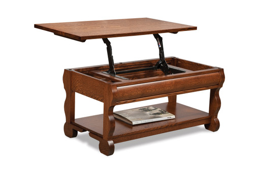 Old Classic Sleigh Open Lift Top Coffee Table with Counter Weight