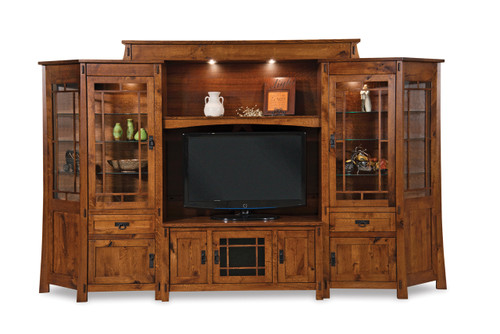 Modesto 6-Piece Wall Unit Entertainment Center with Angled Side Cabinets