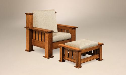 Bunyan Footstool shown with Bunyan Chair